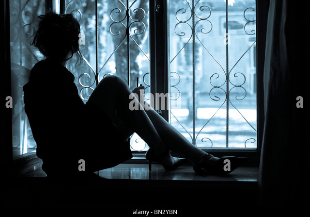 Abstract picture about woman's loneliness - Stock-Bilder
