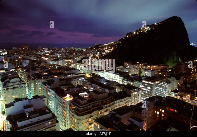 Brazil South America Rio De Janeiro Copacabana Ipanema Pavaozinho Peak dusk lights - Stock Image