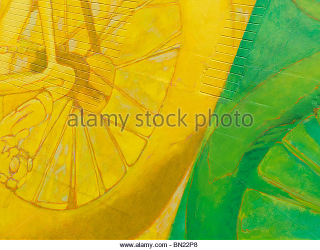 Abstract colorful yellow green mural graffiti on a brick wall - Stock-Bilder