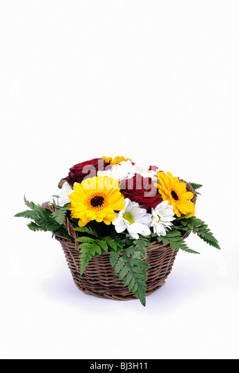 Bouquet of roses, daisies, gerbera, ferns, arranged in a basket - Stock Image