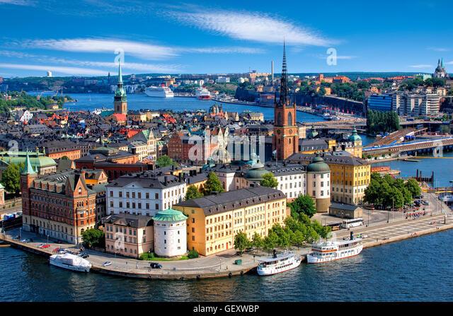 Overview of Riddarholmen , Stockholm - Stock Image