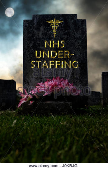 NHS Understaffing written on a headstone, composite image, Dorset England. - Stock Image
