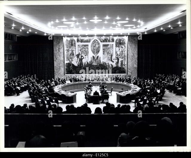 Jan. 31, 1992 - Security Council holds first Summit-Level meeting and issues draft declaration on its central role - Stock Image