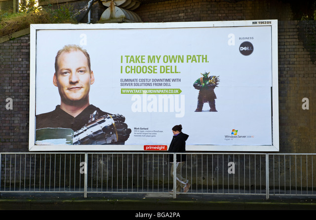 primesight billboard site featuring DELL Business Computers poster in Newport South Wales UK - Stock Image