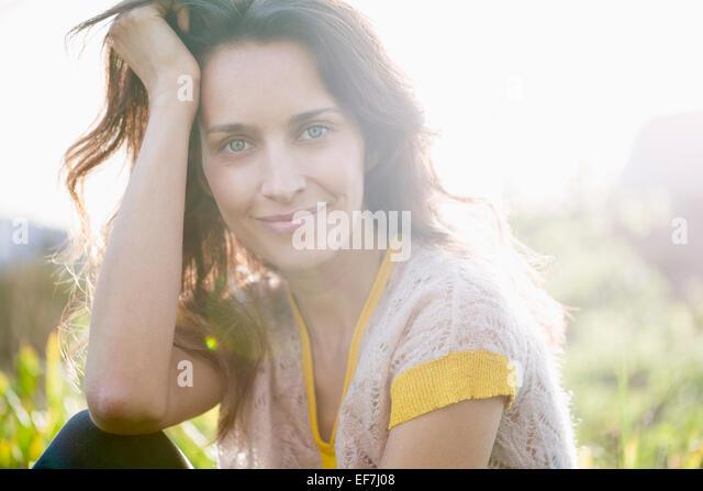 Beautiful woman smiling - Stock Image