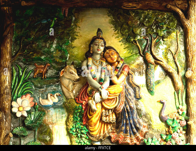 Radha and Lord Krishna in Ras pose at Vrindavan made in plaster of paris - Stock Image