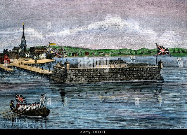 North Battery, colonial Boston harbor, 1700s. - Stock Image