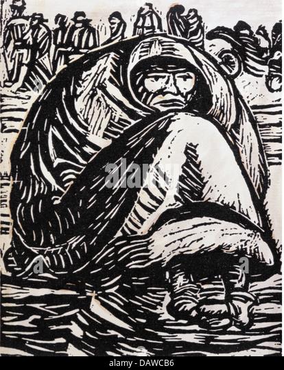 fine arts, Barlach, Ernst (1870 - 1938), graphic, 'Die Armut' (The destitution), woodcut, Germany, 1918, - Stock-Bilder