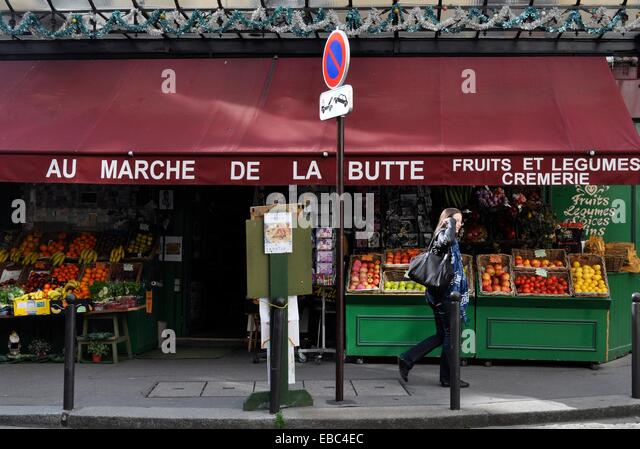 Paris, France, 'Amelie Poulain' movie's grocery, La Butte, Montmartre - Stock Image