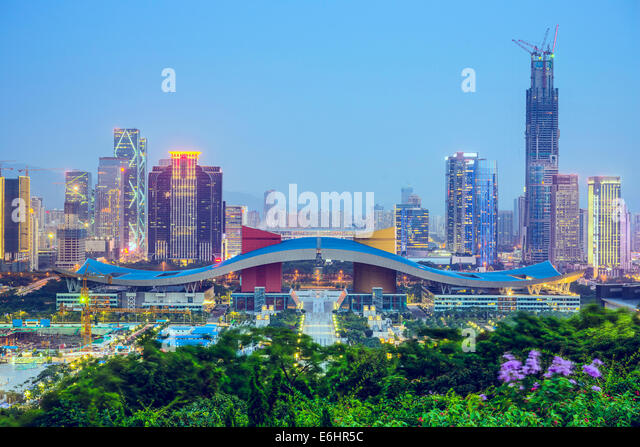 Shenzhen, China city skyline at twilight in the Civic Center district. - Stock Image