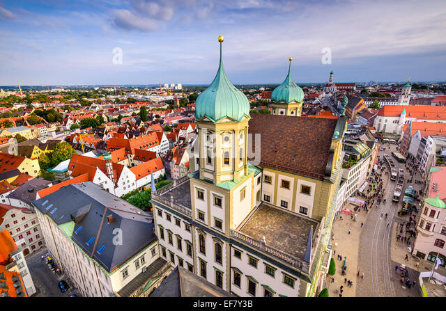 Augsuburg, Germany city skyline. - Stock-Bilder