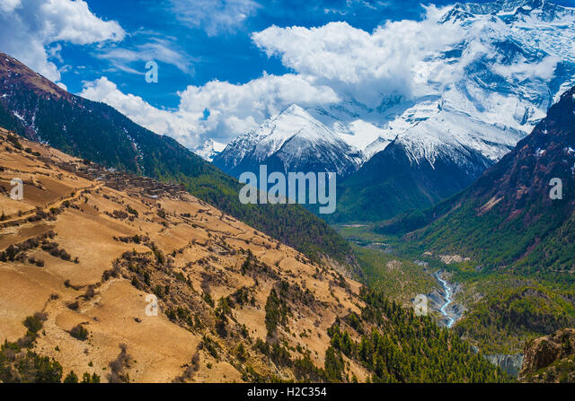 Beautiful Landscape View Snow Mountains Nature Viewpoint.Mountain Trekking Landscapes Background. Nobody photo.Asia - Stock Image