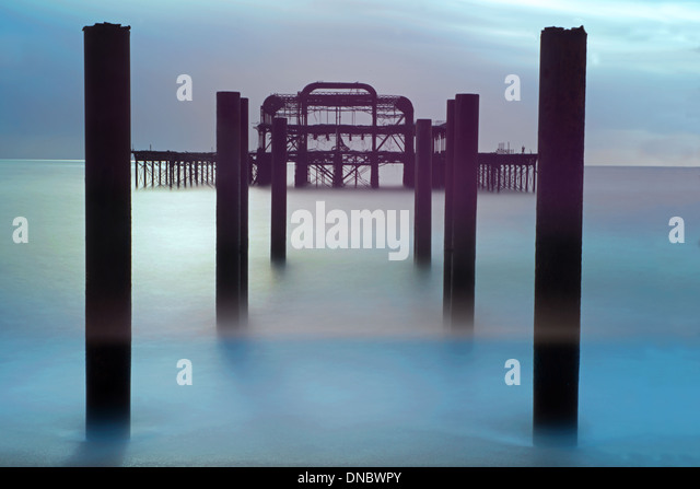 The Remains Of The West Pier, Hove, East Sussex, England, Uk - Stock Image