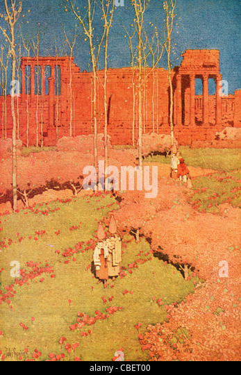 The Temple of Bacchus, Baalbek; a vintage 1914 printed color halftone reproduction of the Jules Guerin illustration. - Stock Image