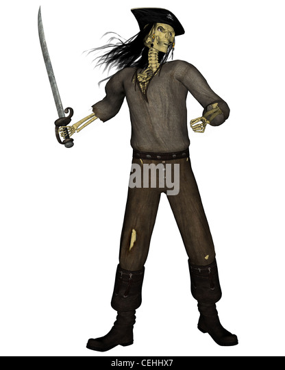 Undead Pirate Skeleton - 1 - Stock Image
