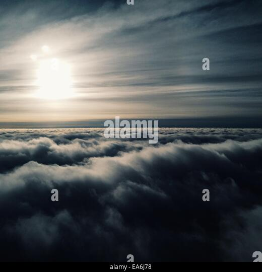 View of upper layer of clouds - Stock Image