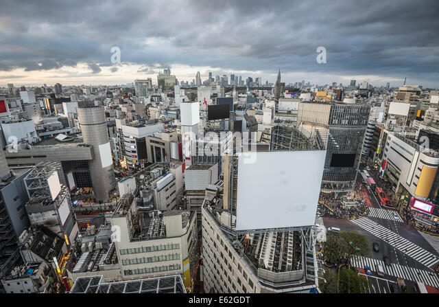 Aerial view over Shibuya Ward in Tokyo, Japan. - Stock Image