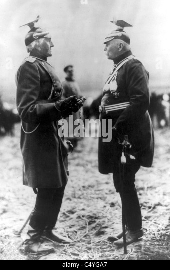 Count Gottlieb von Haeseler, 1836-1919, full-length portrait, standing, with Count Ferdinand von Zeppelin, 1838 - Stock Image