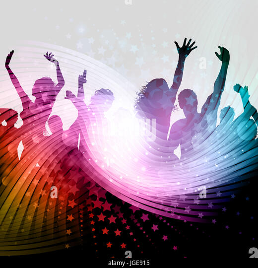 Silhouette of a party crowd on an abstract background with stars design - Stock Image