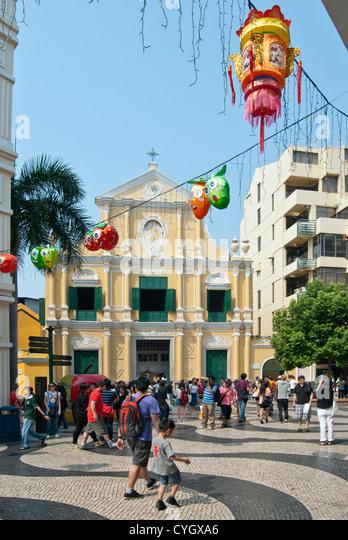 San Domingo's Church with Mid-Autumn Festival decorations, Macau - Stock Image