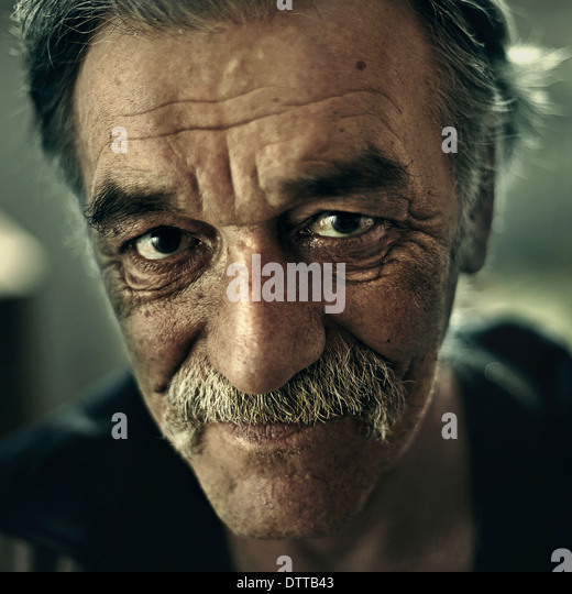 Close up of Senior Caucasian man's face - Stock Image