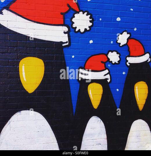 Christmas Penguins - Stock Image