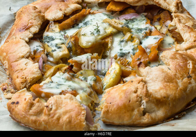 Galette with Onion, pumpkin,apples and blue cheese - Stock Image