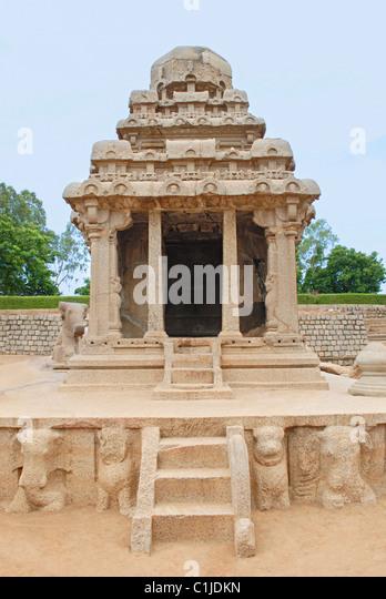 Arjuna Rath, Mahabalipuram, circa 7th century CE , Tamilnadu, India. - Stock Image