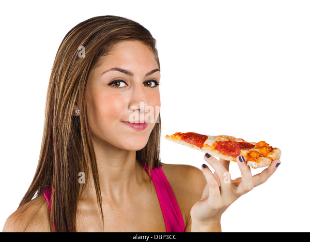pretty teenage girl holding a slice of pizza - Stock-Bilder