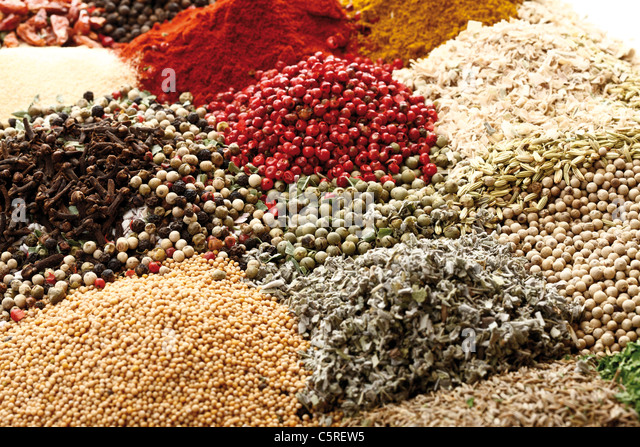 A selection of spices, full frame, close-up - Stock Image