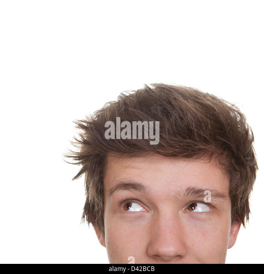 student face looking to side, sideways - Stock Image