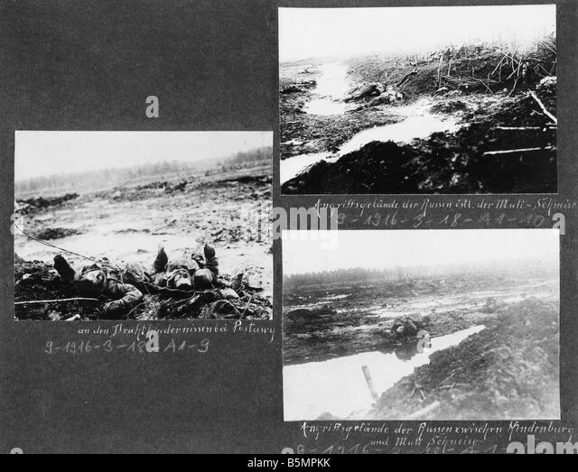 9 1916 3 18 A1 16 E Battle of Postawy 1916 Battle field World War 1 Eastern Front Defeat of Russian troops after - Stock-Bilder