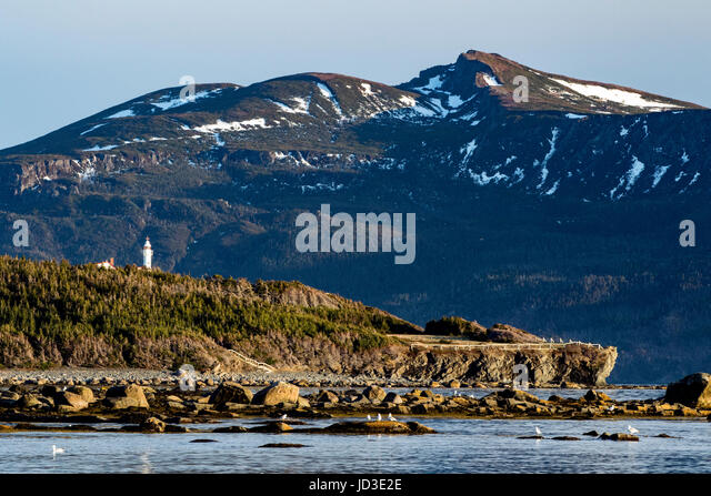 Lobster Cove Head Lighthouse - Gros Morne National Park, Rocky Harbour, Newfoundland, Canada - Stock Image