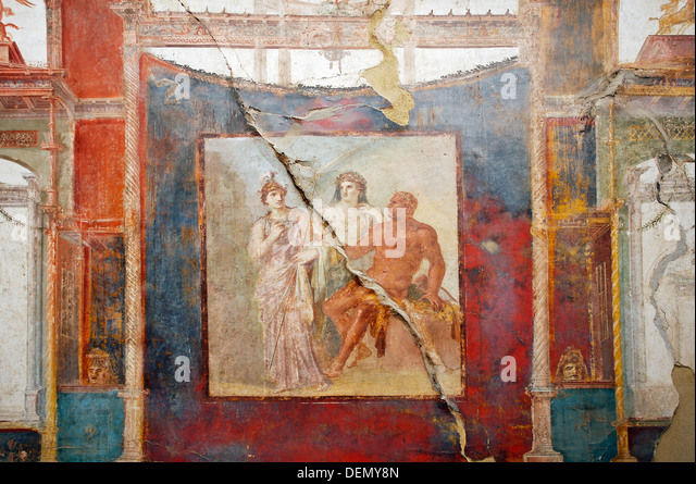 Fresco in the College of the Augustans« depicting the myth of Hercules, ruins of the old Roman city of Herculaneum - Stock Image