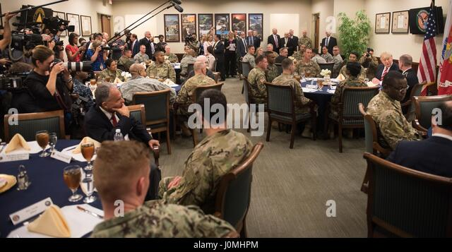 President Donald Trump has lunch with troops while visiting US Central Command and US Special Operations Command - Stock Image