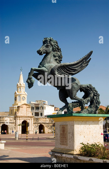 Statue of Pegasus on the Muelle de Los Pegasos by Hector Lombana Pineres Cartagena de Indias, Colombia - Stock Image