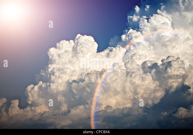 Shot of clouds and blue sky at summer time - Stock Image