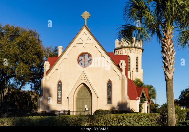Historic St. Peter's Episcopal Church in Fernandina Beach on Amelia Island in Florida - Stock Image