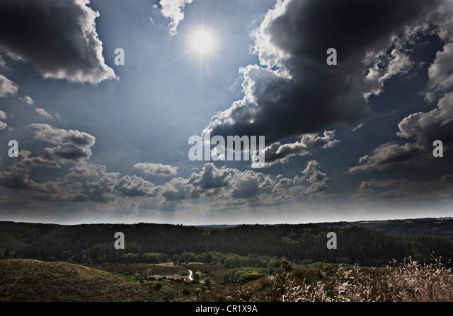 Clouds over rural landscape - Stock Image