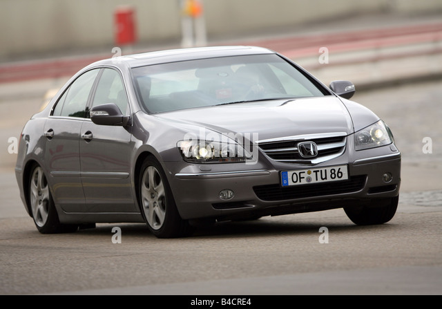 Honda Legend 3.5 SH-AWD, model year 2006-, anthracite, driving, diagonal from the front, frontal view, test track - Stock Image