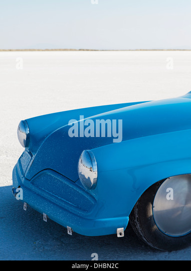 The bright blue bonnet of a custom race car at Speed Week on the Bonneville Salt Flats, in Utah. - Stock Image