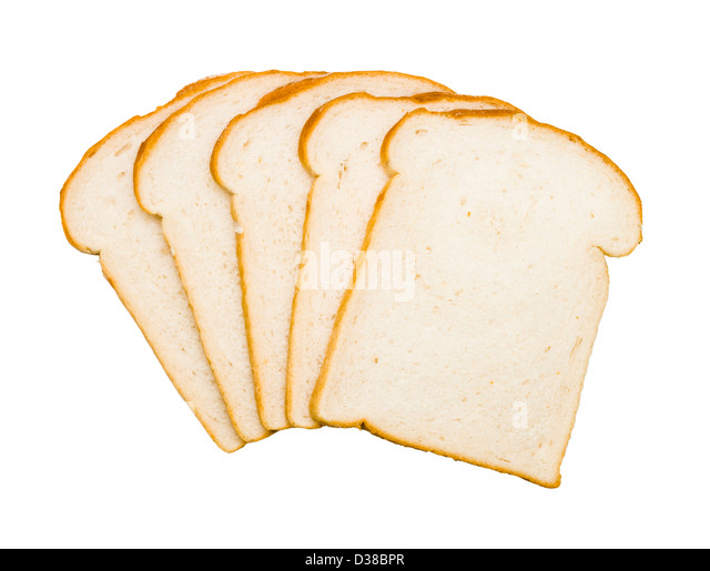 Slices of white bread. - Stock Image