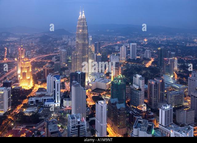 Petronas Twin Towers from KL Tower, Kuala Lumpur, Malaysia - Stock Image
