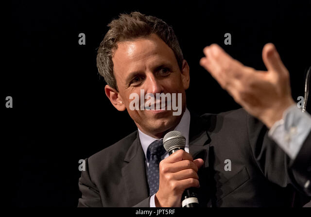 Seth Meyers is seen at Cooper Union. U.S. Senator for Minnesota Al Franken participated in a conversation with comedian - Stock Image