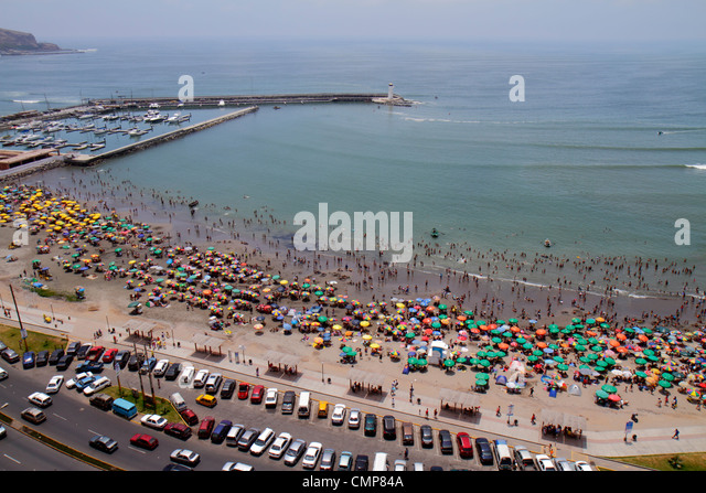 Lima Peru Barranco District Malecon Circuito de playas Playa los Yuyos Pacific Ocean coast Lima Marina Club aerial - Stock Image