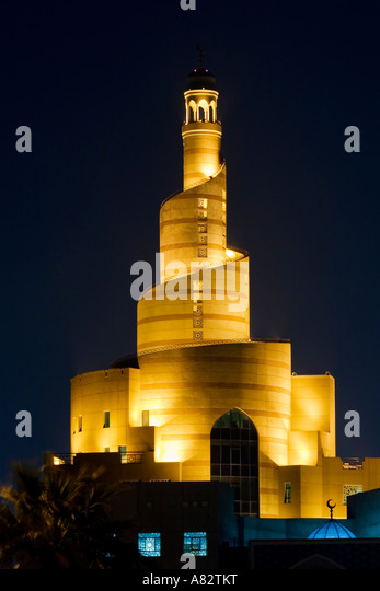 Qatar Doha Main Mosque at night - Stock Image