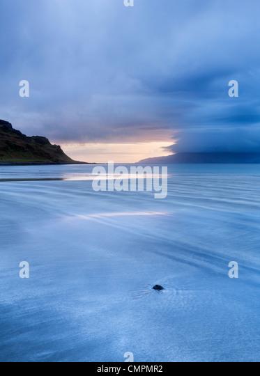 Early evening view towards Rum, Hebrides, Scotland, United Kingdom, Europe - Stock Image
