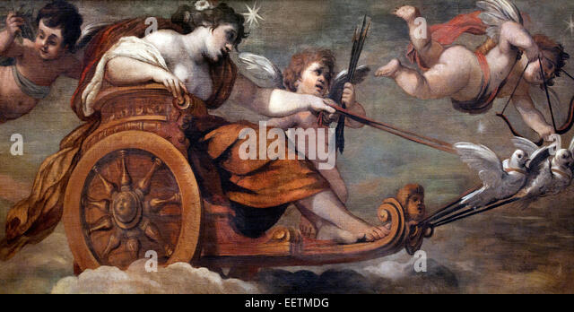 The Chariot of Venus by  Pietro da Cortona ( 1596 - 1669 ) Italy Italian - Stock Image
