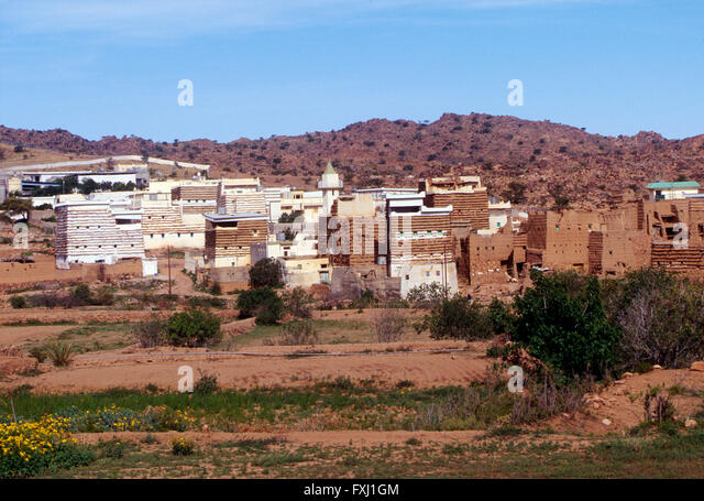 Saudi homes between Abha and Al Habalah; Kingdom of Saudi Arabia - Stock Image