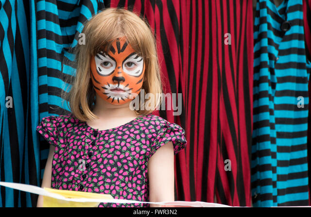 sad, face-paint abstract, tiger, action, actor, actress, adult, affect, anger, angry, art, arty, beauty, blue, alamy, - Stock Image